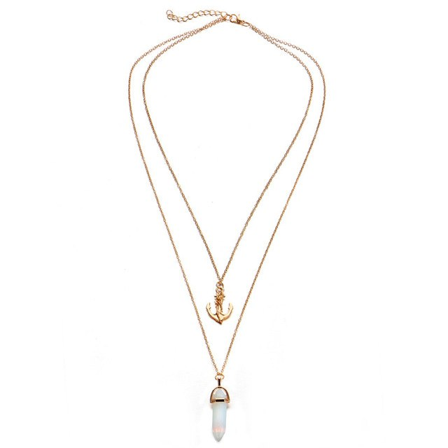 Didi Royale | Online Women's Boutique | Accessories | Justice Gold Anchor And Gem Layered Necklace