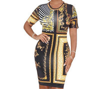 Sienna Vintage Black Gold Chain Print Dress - Didi Royale