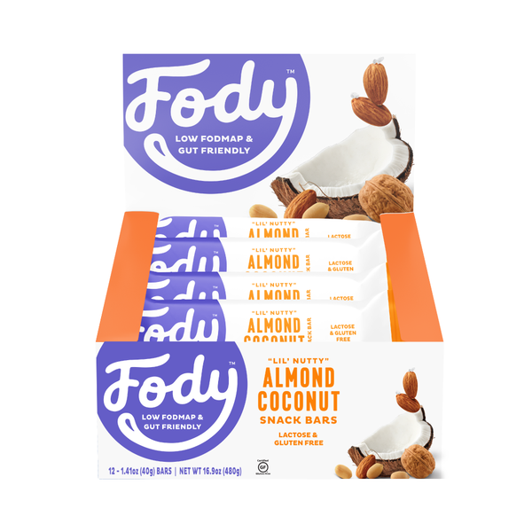 <br> Low FODMAP Bars <br><b><big> Almond Coconut Bars</big><br><big>(Box of 12 Bars)</big></b><br> <small>Gluten-Free, Lactose-Free</small>