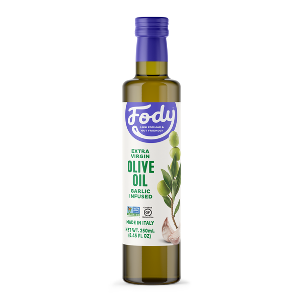<b><big> Low FODMAP <br> Garlic Infused Olive Oil</big></b><br><small> Extra-Virgin, NON-GMO, Made in Italy</small>