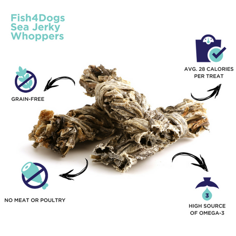 Fish4Dogs Sea Jerky Whoppers Infographic