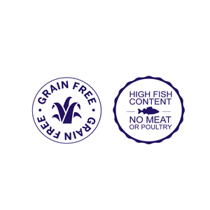 grain free and high fish content badges