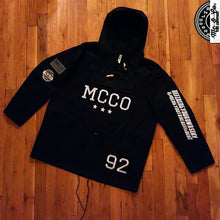 "Unisex ""MCCO"" Embroidered Hooded Black Poncho Jacket"