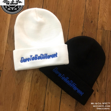 "Royal Blue Embroidered ""DareToBeDifferent""  Knitted Skully"