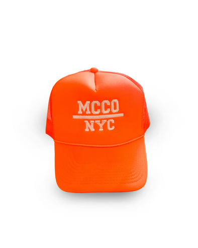 """MCCO NYC"" Embroidered Neon Orange Trucker Hat"