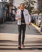Men's White Roses Denim Chenille Jacket