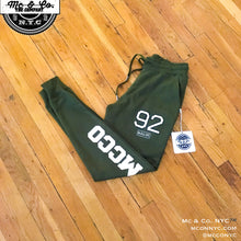 "Olive Green Embroidered ""MCCO 92"" Joggers"