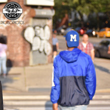 "Unisex ""MCCO"" Two-Tone Electric Royal Blue & Navy Packable WindBreaker"
