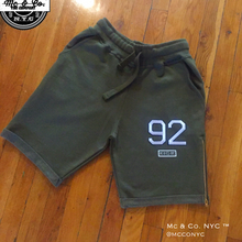 "Olive Green Signature Mc & Co. NYC ""92"" Embroidery Shorts"