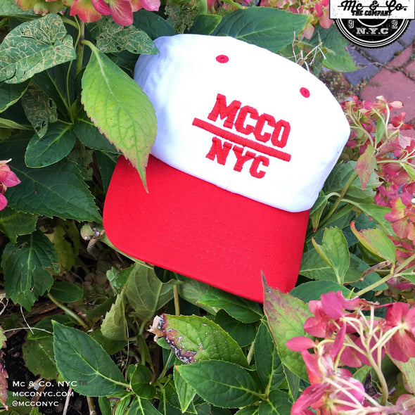 "Red ""MCCO NYC"" Two-Tone Embroidered Dad Hat"