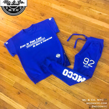 "Royal Blue Embroidered ""MCCO 92"" Joggers"