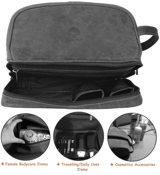 bac06abbf04f ... Handmade Buffalo Genuine Leather Toiletry Bag Dopp Kit Shaving and  Grooming Kit for Travel ~ Gift ...