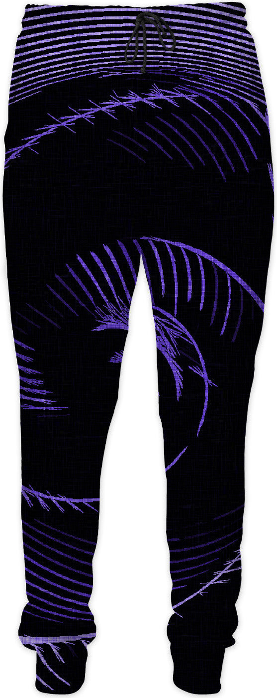 Purple spiral, abstraction, visual, optical illusion, surreal violet lines, tunnel on dark fabric pattern jogger pants