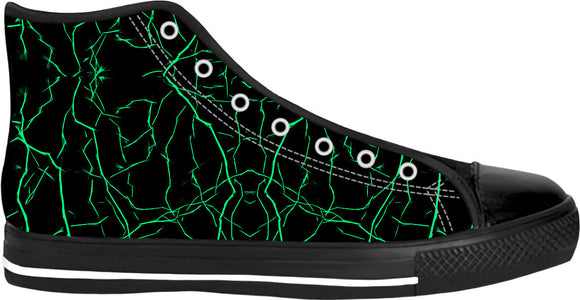 Green bolts pattern, thunder strikes on black, night sky theme, black high tops