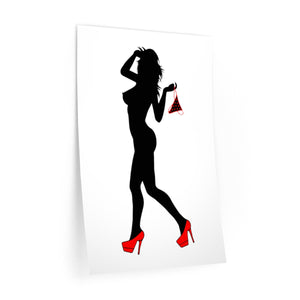 Reusable Vinyl Wall Decals - Kinky invitation, girl silhouette, red heels and panties