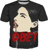 Obey! Sexy girl, submissive slave, erotic tee shirt design, beautiful face