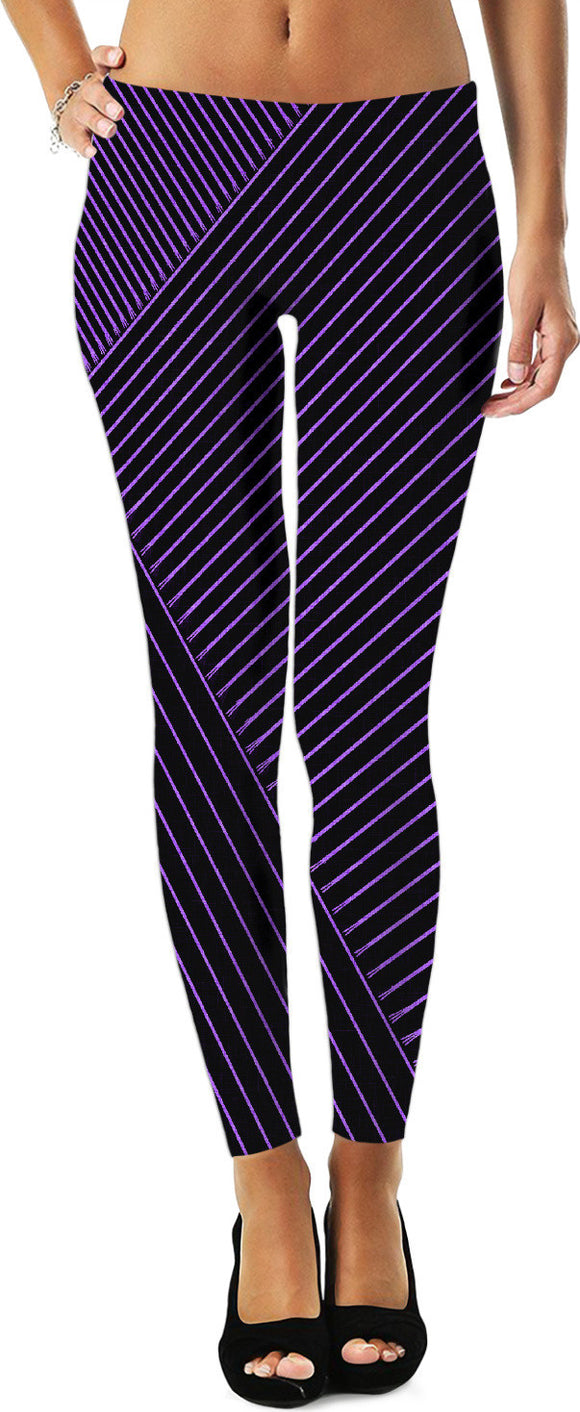 Purple optical illusion, line art at black canvas background leggings design, girls style, apparel.