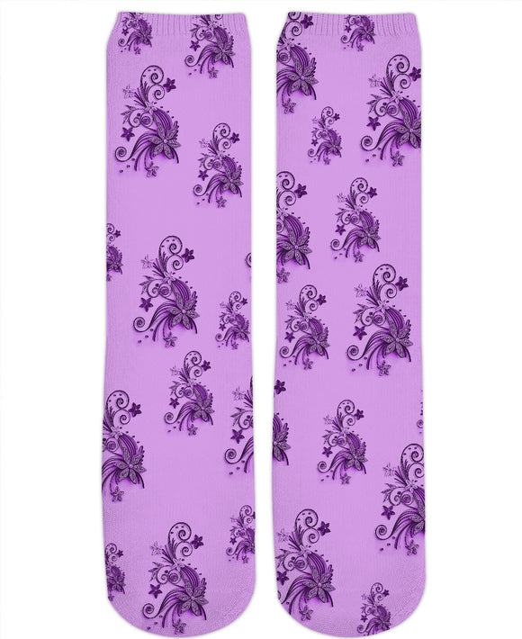 Light Pink, Violet, Purple flowers, asymetric floral ornament, cartoon pattern theme, all-over-print crew socks