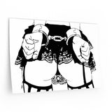 Reusable Vinyl Wall Decals - Owned, fetish erotic artwork, cuffed submissive