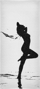 Her Shapes - sensual nude, stencil artwork, naked girl in water, beach towel