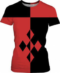 Red and black geometric theme woman tee shirt, Harley Quinn style clothing