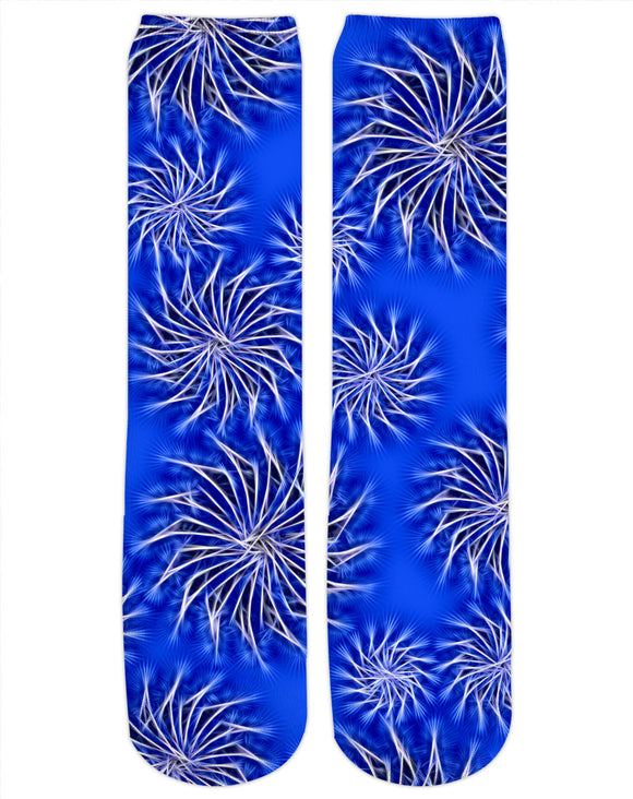 Silver spinning stars on Dark blue, abstract energetic pattern socks