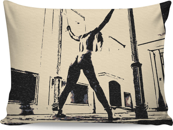 Submissive girl in seducing pose - enter the dungeon, fetish artwork rectangular pillowcase
