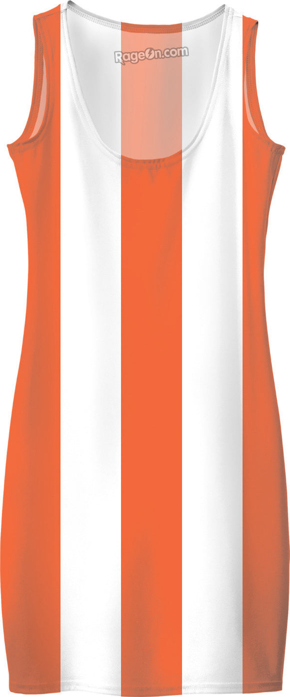 Thick orange and white stripes pattern, lines theme simple dress