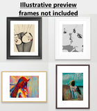 Gallery quality Giclée art print - Booty view, sexy submissive girl in kinky lingerie