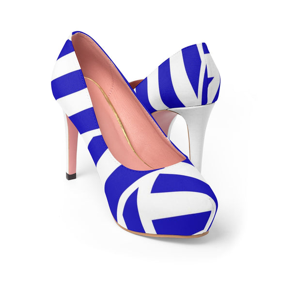 Women's Platform Heels - White and deep blue stripes, geometric pattern