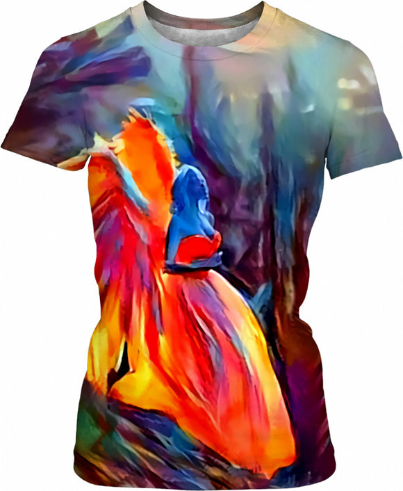 Surreal Angel, colorful girls fit tee shirt design, abstract artwork all-over-print t-shirt