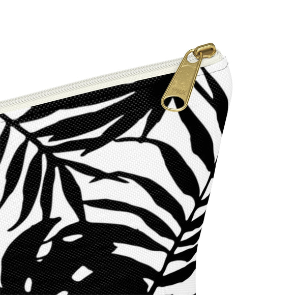 Accessory Carry-All-Pouch w T-bottom - Black and white tropical leafs