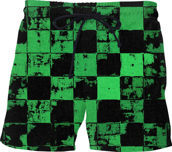 Green and Black Bricks Pattern, grunge tiles, blocks, dark fabric canvas swim shorts