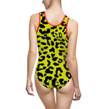 Women's Classic One-Piece Swimsuit - Gold leopard spots pattern