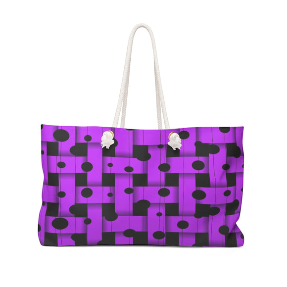 Oversized Weekender Tote Bag - Purple weaved stripes and asymetric dots