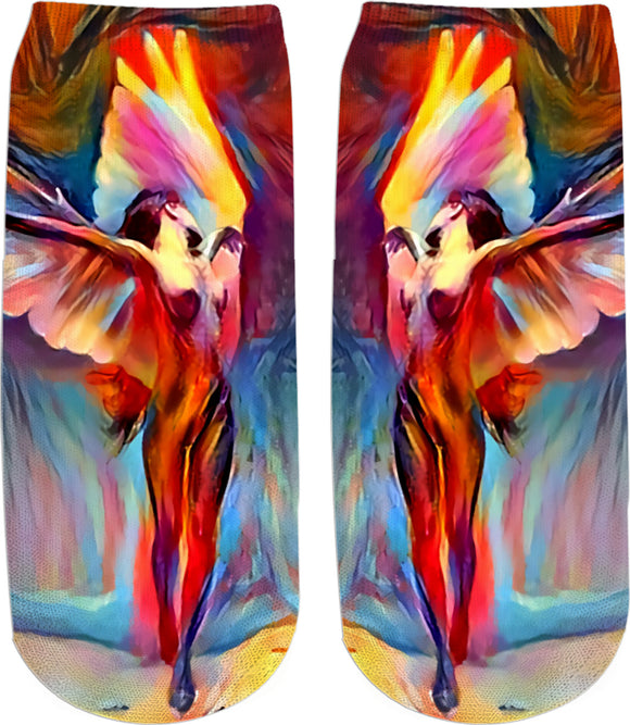 Surreal Angel 2, colorful girls ankle socks design, abstract artwork all-over-print