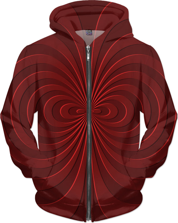 Trippy curves, spirals pattern, red on scarlet, geometric themed all-over-print hoodie design