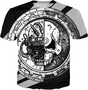 Steampunk skull logo all-over-print tee shirt, black and white design, rts gaming inspired