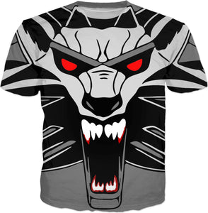 Gray wolf face, roaring animal all-over-print tee shirt design, RPG gaming inspired