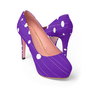 Women's Platform Heels - White dots at strings, purple, violet shoes