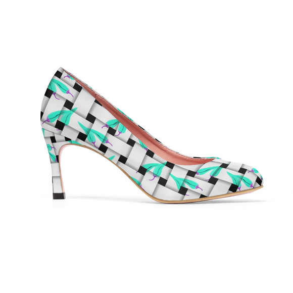 Classic Women's High Heels - White and light blue, weaved peppers