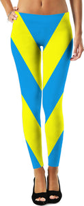 V stripes pattern leggings, symetric diagonal lines, vector image, yellow and blue colors