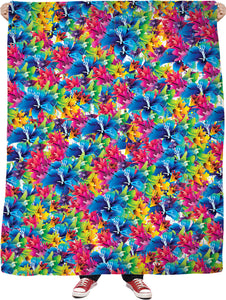 Flowers, flowers everywhere, colorful floral pattern, red, blue, yellow colors throw blanket