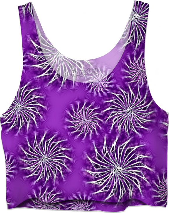 Silver spinning stars on purple, violet, abstract energetic pattern. Sexy top, tee shirts