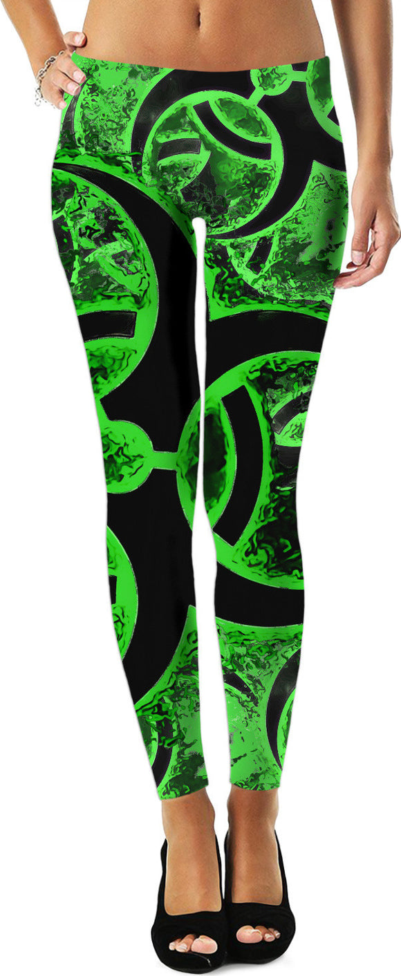 Green and black biohazard sign, bio waste, toxic fallout warning leggings v2