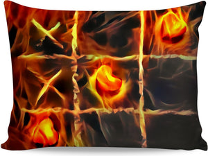 Tic Tac Toe, flaming game, fire hearts pillow case