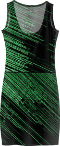 Line Art - The Scratch, green asymetric lines, stripes, striped pattern, black fabric canvas simple dress