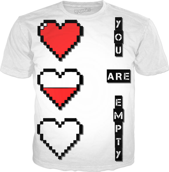 Pixel hearts, you are empty, white men's tee shirt design