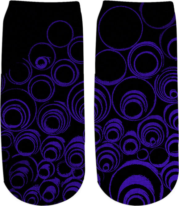UV blue, ultra violet circles, ovals, spiral, abstraction, visual, optical illusion socks