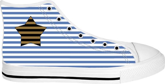 Star and marine stripes pattern sneakers, custom white high tops, geometric themed shoes
